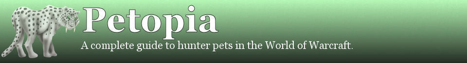 'Petopia: A complete guide to hunter pets in the World of Warcraft.' from the web at 'http://www.wow-petopia.com/css/header.jpg'