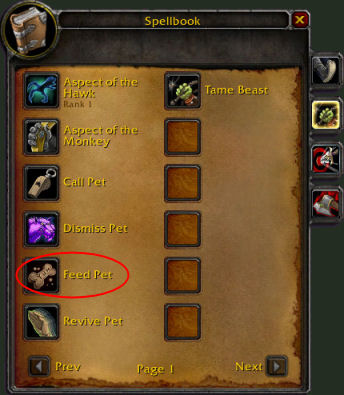 The Feed Pet icon looks like a bone-shaped doggie biscuit.