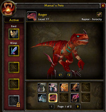 The WoW Stable UI