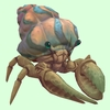 Ivory Hermit Crab w/ Orange & Blue Shell