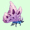 Cyan-Blue Moth w/ Pink Wings
