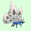 Cyan-Blue Moth w/White Wings