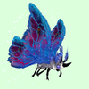 Grey Moth w/ Blue & Magenta Wings