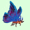 Red Moth w/ Blue & Magenta Wings